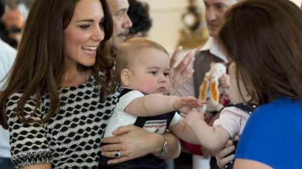 Prince George with his mother, the Duchess of Cambridge, in Wellington.