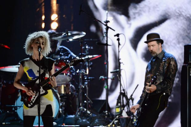 Playing Cobain songs ...  Musicans St. Vincent (L) and Nirvana's Krist Novoselic perform at the 29th Annual Rock And ...