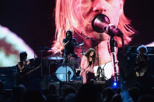 Playing Cobain ... (L-R) Musicians Joan Jett, Dave Grohl of Nirvana, Lorde and St. Vincent perform at the 29th Annual ...
