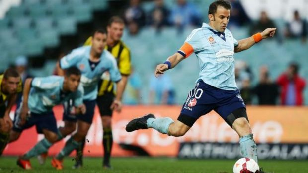 Del Piero scores from the spot against the Phoenix in round 26.