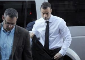 Facing the music: Oscar Pistorius arrives for his trial at the North Gauteng High Court on Friday.