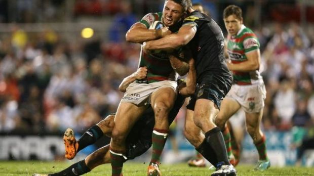 Sam Burgess on the rampage on Friday night.