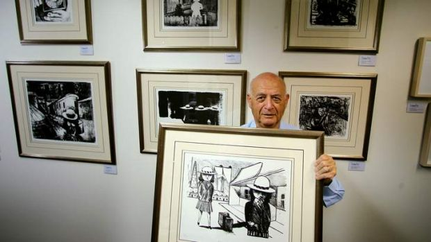 Investing for value and pleasure: Gallery owner Tom Lowenstein with some of his Charles Blackman works on paper, holds ...