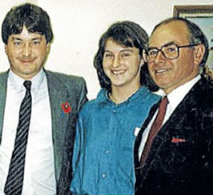 In 1987, with John Howard at the launch of brother Michael's campaign for Chisholm.