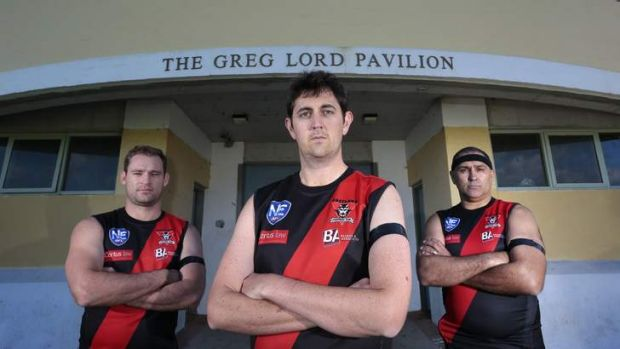 News.  from left Eastlake Football Club Canberra District player Andrew McGrath, Scott Cameron and Bruce Abdilla will ...