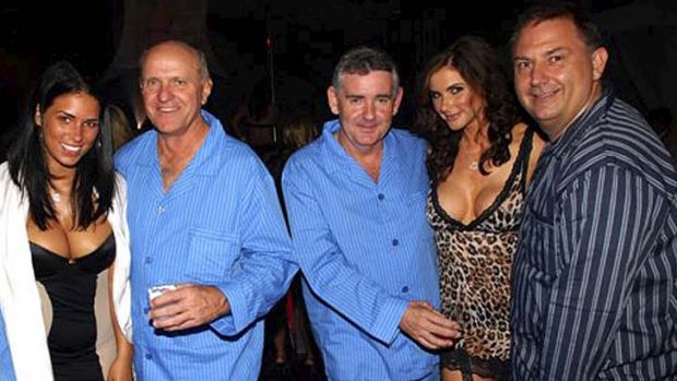 Party time: Micheal Nugent (centre) with Robert McClelland (left), Steven Foster and models at the Playboy mansion.