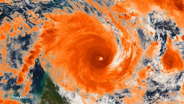 A satellite image of cyclone Ita near Cape Flattery.