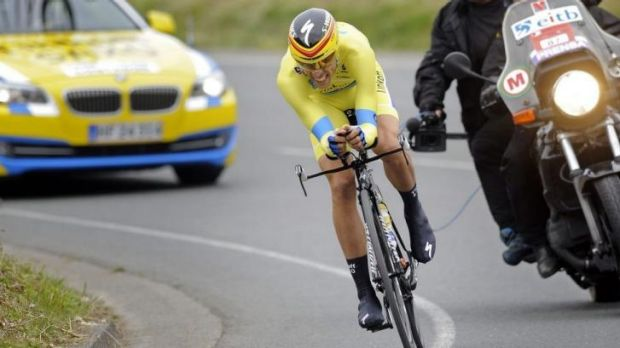Alberto Contador rides during the last stage of the Tour of the Basque Country.