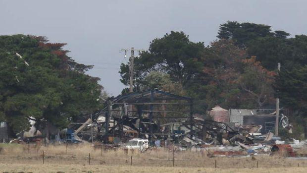 The scene of the explosion in Derrinallum.