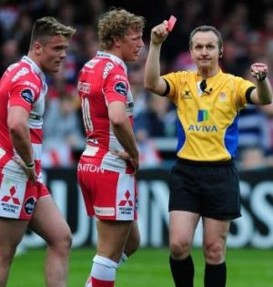 Marched: Travis Knoyle of Gloucester receives a red card.