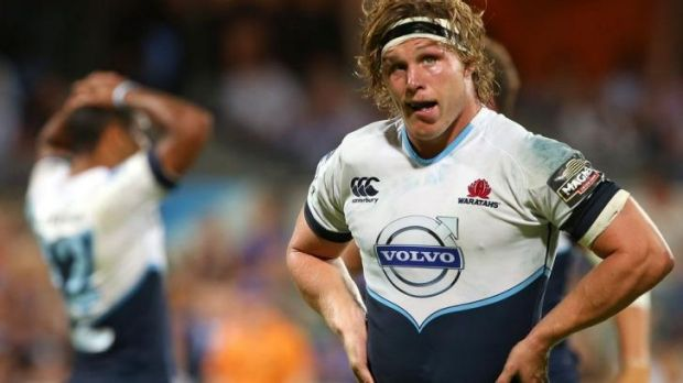 Waratahs forward Michael Hooper looks perplexed after a Force try in Perth on Saturday night.