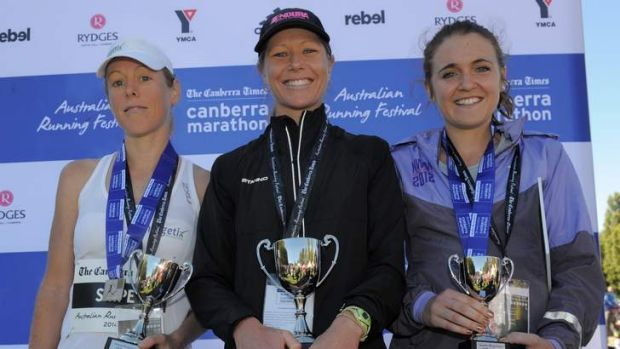 Place getters in the women's event L to R Rhiannon Snipe(2nd) Kirsten Molloy (1st) and Hannah Walmsley (3rd).