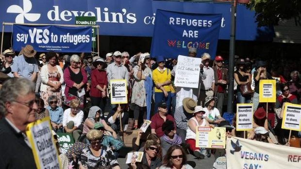 Break the Silence: Rally for Refugees at Garema Place.