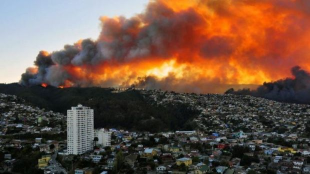 The fire began in a forest on one of the city's many steep, heavily populated hills