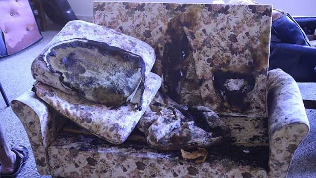 Damage to a couch caused in a recent fire - not the most recent blaze - at the Port Melbourne facility.