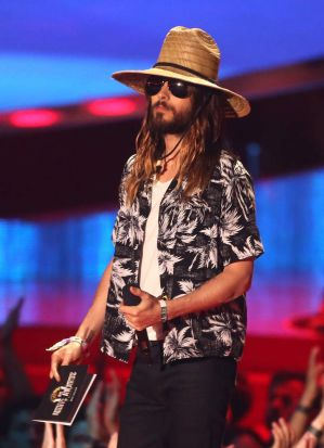 Actor Jared Leto onstage at the 2014 MTV Movie Awards, where he won best onscreen performance.