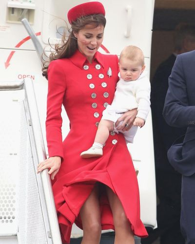 Catherine, Duchess of Cambridge and Prince George of Cambridge arrive in Wellington, New Zealand on April 7, 2014.