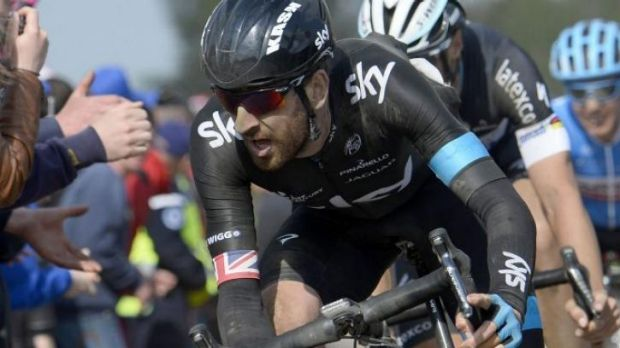 Comeback trail: Bradley Wiggins competes for Team Sky on the infamous cobblestones of the Paris-Roubaix one-day classic, ...