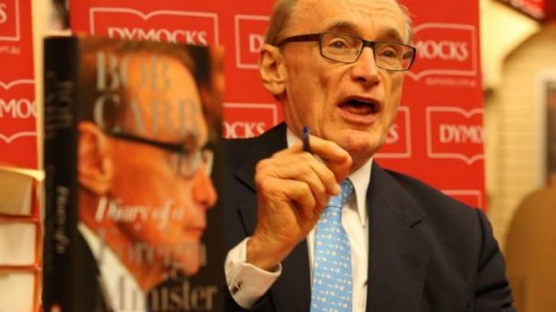Bob Carr at the launch of his diary in Sydney on Monday.