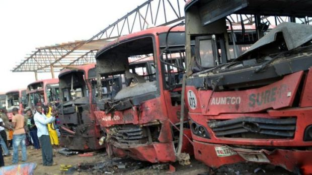 Horrific result ... An explosion at a bus station packed with morning commuters on the outskirts of Nigeria's capital ...