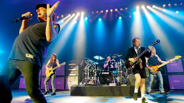 AC/DC with lead singer Brian Johnson and Angus Young on guitar, in Munich in 2003.