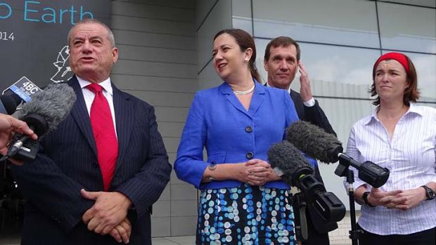 Peter Russo with Labor leader Annastacia Palaszczuk, candidate for Stafford Anthony Lynham and Albert candidate Melissa ...