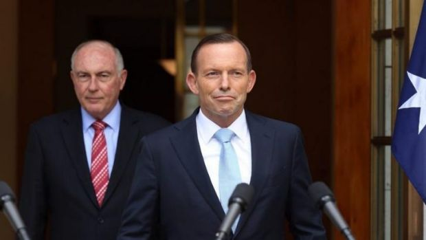 Prime Minister Tony Abbott and Deputy Leader Warren Truss announce Badgerys Creek as site of second Sydney airport.