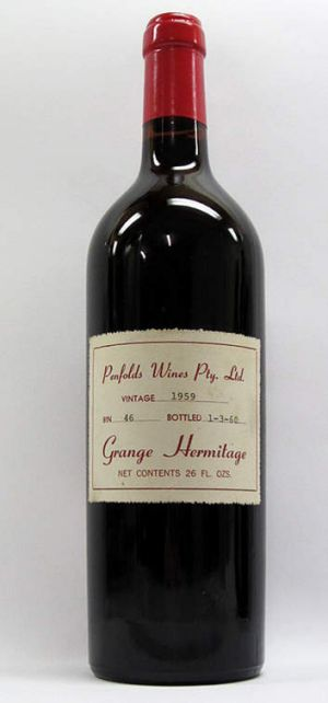A bottle of 1959 Penfolds Grange Hermitage.