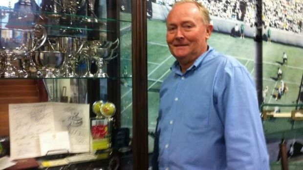 Tennis Queensland president Ken Laffey with memorabilia at the Queensland Tennis Centre.