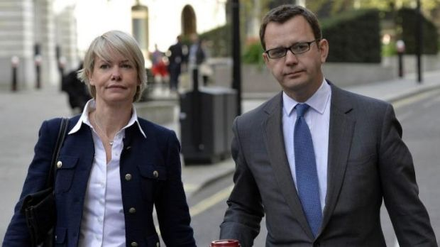 Andy Coulson arrives at the Old Bailey in central London with his wife, Eloise Patrick, for a second day of testimony.