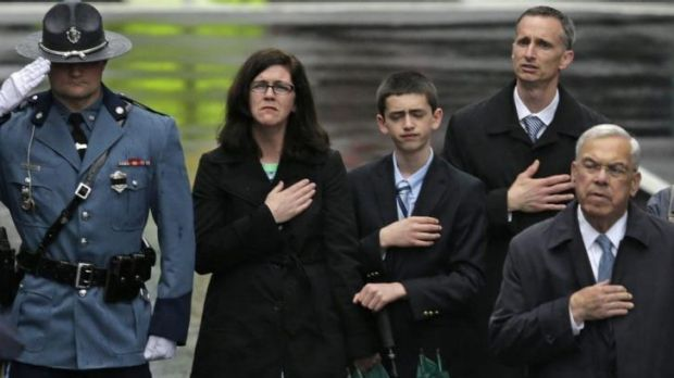 The family of Boston Marathon bombings victim Martin Richard with former Boston mayor Tom Menino, right.