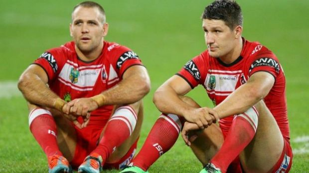 Jason Nightingale and Gareth Widdop after the loss to Melbourne