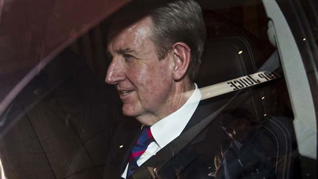 Barry O'Farrell leaves the ICAC after giving evidence on Wednesday.