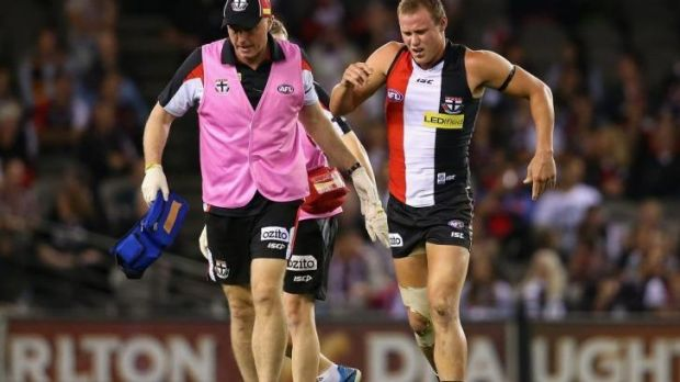 David Armitage leaves the ground after his knee injury on Sunday.