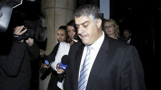 Rise and fall: A subdued Nick Di Girolamo leaves the ICAC hearing in Sydney after giving evidence on Wednesday.