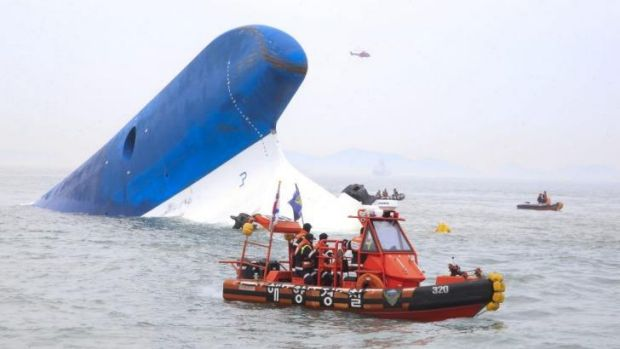 "The Republic of Korea Coast Guard search for survivors as the ferry ""Sewol"" sinks off the coast of Jindo Island, South Korea."