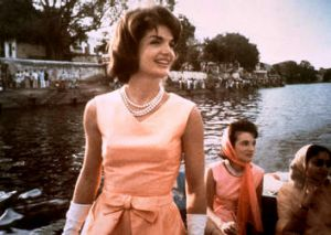 Pioneer in pastel: Jacqueline Kennedy in India in 1962.
