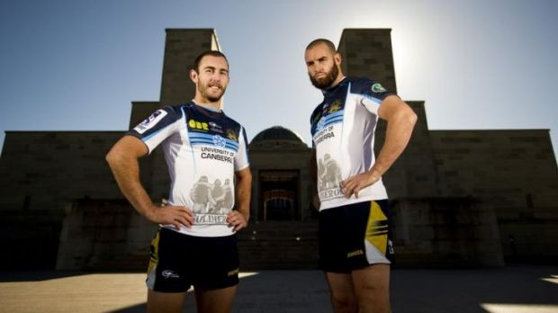 Nic White and Scott Fardy wearing the Brumbies' Anzac jersey.