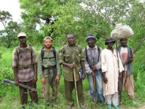 Dr Philipp Henschel (second from left) and his team of surveyors in Nigeria.