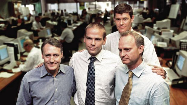 The One.Tel team Brad Keeling, Lachlan Murdoch, James Packer and Jodee Rich.
