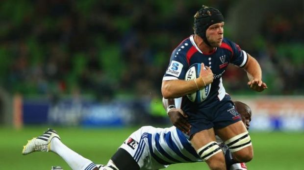 Jarrod Saffy tries to make a break for the Melbourne Rebels in Super Rugby last year against the Stormers.
