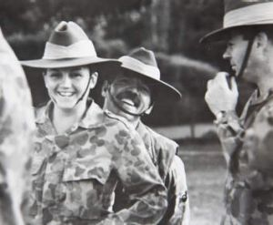 Soldiering on...at Victoria's Puckapunyal army training base in 1991.
