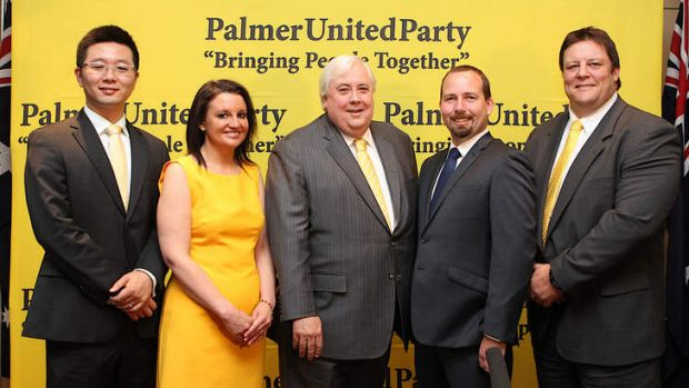 Jacqui Lambie with Clive Palmer and his senate crossbenchers last October, (from left) Dio Wang from Western Australia, ...