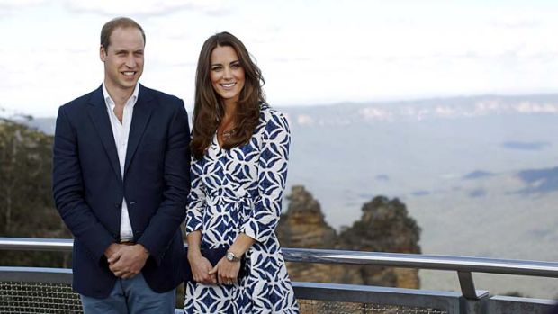 Taking in the view: The Duke and Duchess of Cambridge pose for a photo at Echo Point Lookout in Katoomba.