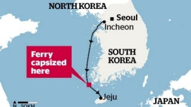The ferry Sewol listed and sank off the island of Jindo on the southern coast of South Korea.