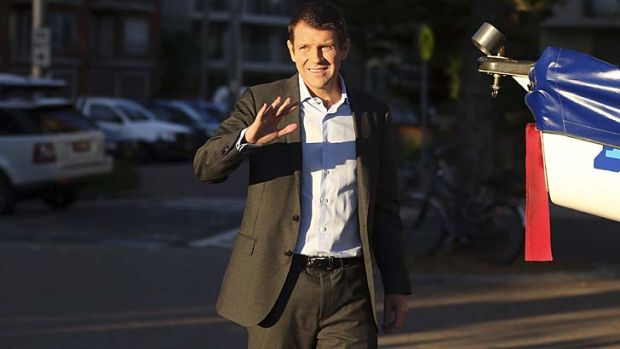 Out and about: NSW Premier Mike Baird in Manly on Friday morning.