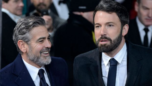George Clooney and Ben Affleck sporting beards.