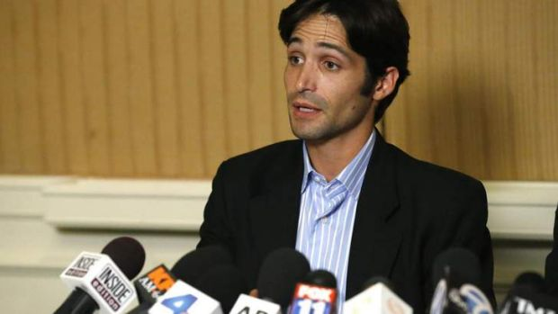 Plaintiff Michael Egan speaks at a news conference about his lawsuit against director Bryan Singer, accusing him of ...