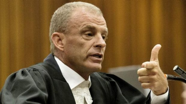 State prosecutor Gerrie Nel during his cross-examination of Oscar Pistorius.