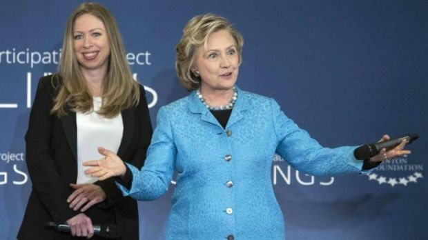 Big news: Chelsea Clinton and her mother, Hillary, at the Manhattan event where Ms Clinton, 34, announced her pregnancy ...